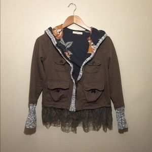Scrapbook Jackets & Coats - Floral military zip up hoodie with lace trim